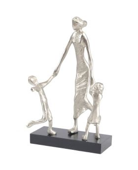 Libra Mother Playing with Children Silver Sculpture