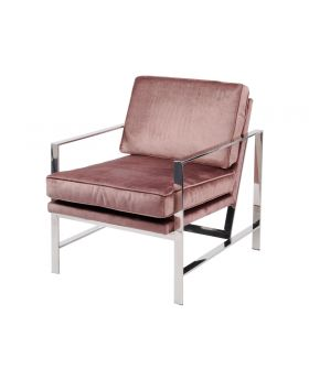 Libra Caverly Pink Velvet Chrome Frame Occasional Chair