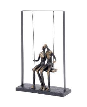Libra Couple Sitting on a Swing Bronze Figurative Sculpture