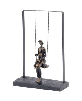 Libra Mother and Baby on a Swing Bronze Figurative Sculpture
