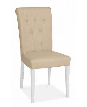 Bentley Designs Hampstead Two Tone Upholstered Chair - Ivory Bonded Leather (Pair)