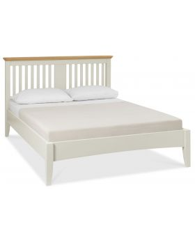 Bentley Designs Hampstead Soft Grey & Pale Oak 135Cm Slatted Bedstead