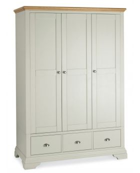 Bentley Designs Hampstead Soft Grey & Pale Oak Triple Wardrobe