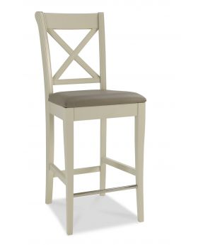 Bentley Designs Hampstead Soft Grey X Back Bar Stool (Pair)