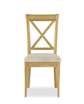 Bentley Designs Chantilly Oak X Back Dining Chair - Butter Milk (Pair)