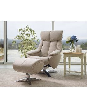 Alpha Fabric Swivel Recliner Chair & Stool