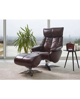 Alpha Leather Swivel Recliner Chair & Stool