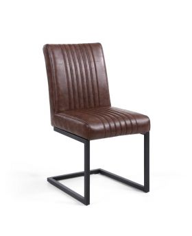 Pair of Archer Cantilever Faux Leather Dining Chairs in Brown