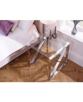 Serene Astra Polished Steel Lamp Table