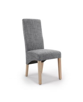 Pair of Baxter Wave Back Dining Chairs in Tweed Grey Fabric