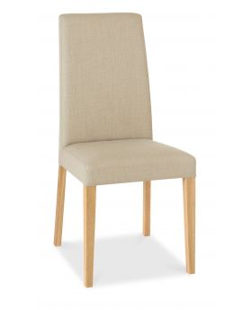 Bentley Designs Miles Light Oak Taper Back Chair - Stone (Pair)