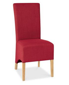 Bentley Designs Nina Oiled Oak Wing Back Chair - Red  (Pair)