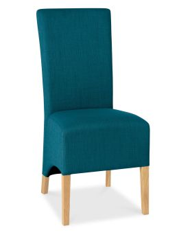 Bentley Designs Nina Oiled Oak Wing Back Chair - Teal (Pair)