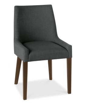 Bentley Designs Ella Walnut Scoop Back Chair - Charcoal  (Pair)