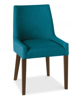 Bentley Designs Ella Walnut Scoop Back Chair - Teal  (Pair)