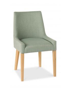Bentley Designs Ella Light Oak Scoop Back Chair - Aqua  (Pair)