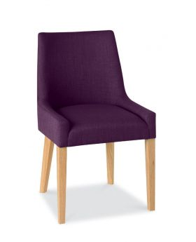 Bentley Designs Ella Light Oak Scoop Back Chair - Plum  (Pair)