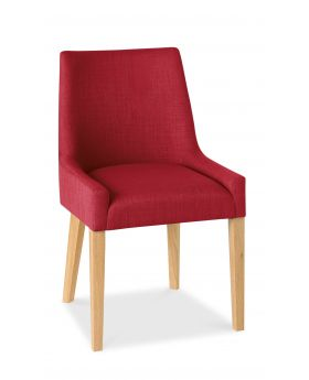 Bentley Designs Ella Light Oak Scoop Back Chair - Red  (Pair)