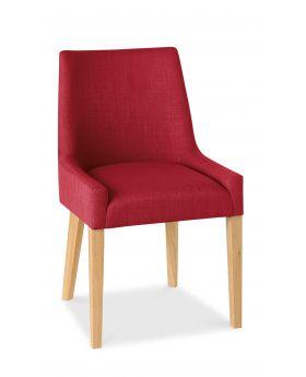Bentley Designs Ella Light Oak Scoop Back Chair - Red  (Pair)