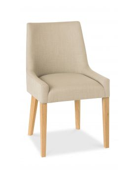 Bentley Designs Ella Light Oak Scoop Back Chair - Stone  (Pair)