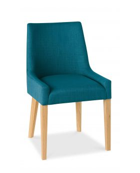 Bentley Designs Ella Light Oak Scoop Back Chair - Teal  (Pair)