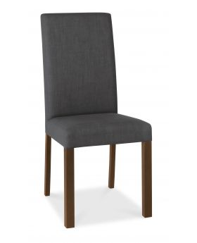 Bentley Designs Parker Walnut Square Back Chair - Charcoal (Pair)
