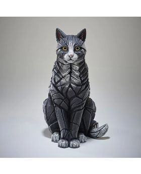 Edge Sculpture Sitting Cat in Black