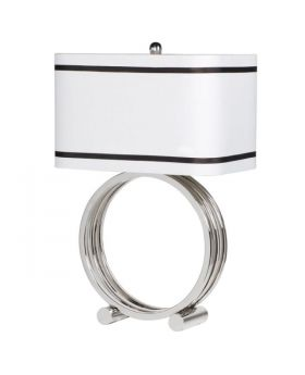 Chrome Ring Base Lamp With White Shade