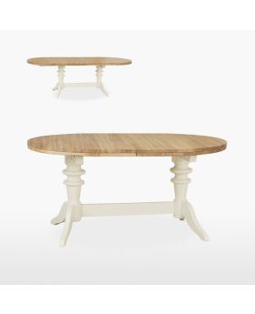 TCH Coelo Dining Round Extending Double Pedestal Table (2 Leaves)