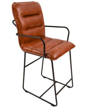 Classic Cooper Bar Stool in Tan Faux Leather