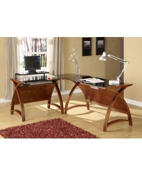 Jual Curved Walnut and Black Glass Corner Desk