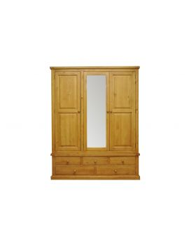 Vessel Soft Pine Large Mirrored 3 Door Wardrobe