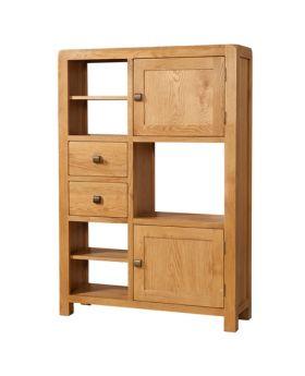 Devonshire Avon Oak High Display Unit 2 Door 2 Drawer
