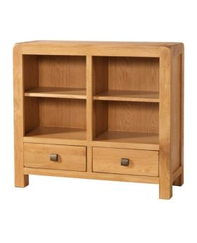 Devonshire Avon Oak Low Bookcase 2 Drawers