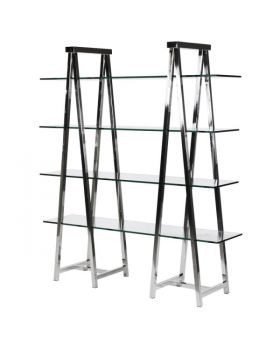 Terano Glass and Steel 4 Shelf Double Trestle Display Unit