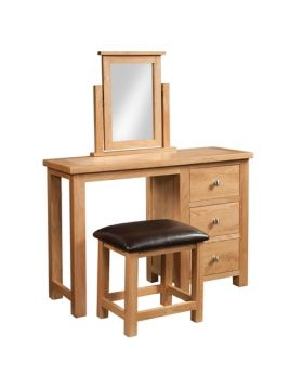Devonshire Wessex Oak Single Pedestal Dressing Table + Stool