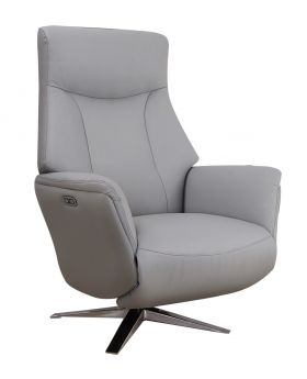 GFA Houston Leather Power Recliner Chair in Platinum