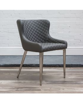 HND Kate Quilted Dining Chair - Grey