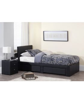 Serene Latino 2 Drawer Faux Leather 90cm Bed Frame