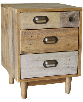 Loft Reclaimed Pine Bedside Cabinet with Legs