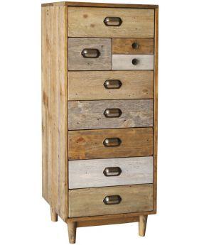 Loft Reclaimed Pine Tall Wellington chest with Legs