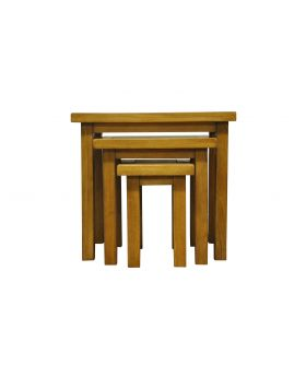 Vessel Warm Oak Nest of 3 tables