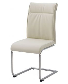 Classic Furniture Industrial Dining Chair - high back-cream PU-stainless frame