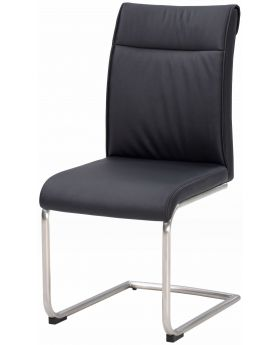 Classic Furniture Industrial Dining Chair - high back-black PU-stainless frame