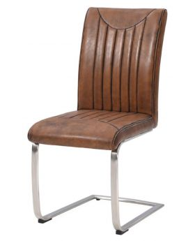 Classic Furniture Industrial Dining Chair-retro stitch-vintage PU-stainless frame
