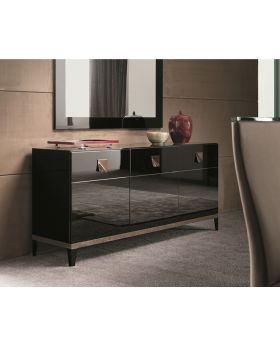 ALF Mont Noir 3 Door Buffet Black High Gloss