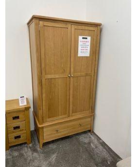 Nordic Oak 2 Door Wardrobe with Drawer