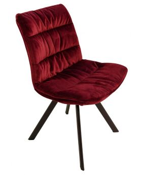 Pair of Paloma Fabric Dining Chairs - Ruby