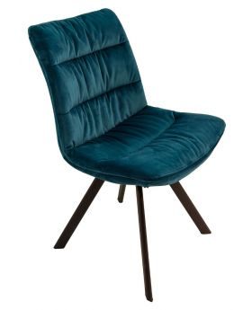 Pair of Paloma Fabric Dining Chairs - Teal