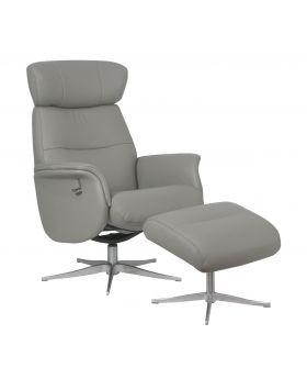 Panama Leather Swivel Chair & Stool in Husky